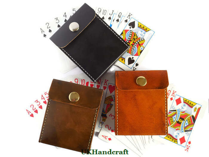 reputable site 54d64 8874a Leather Playing Card Case